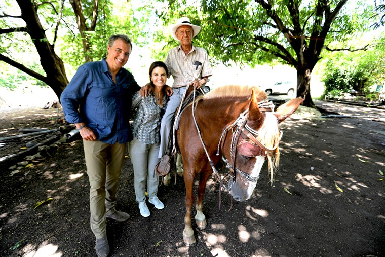 100-year-old Jose Bonifacio with Dan Buettner, author of The Blue Zones Solutions and NBC's Maria Shriver.