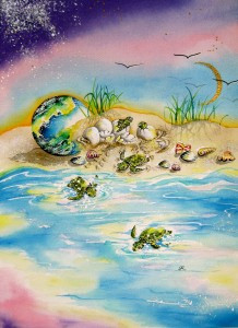 Turtles1 by visionary artist Madeleine Tuttle