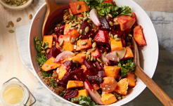 Wheat Berry and Roasted Vegetable Salad with Kale