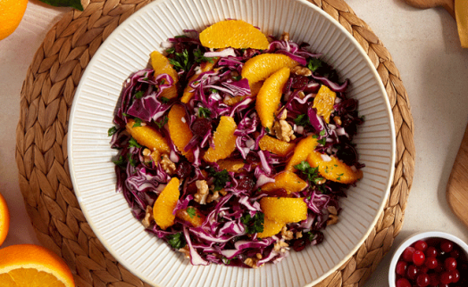 Red Cabbage Salad, with Orange, Cranberries and Walnuts